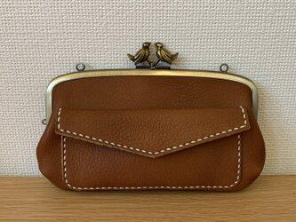 【送料無料】小鳥口金の、外ポッケがついた本革ぺたんこ親子がまぐち長財布の画像