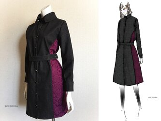 【1点もの・デザイン画付き】岡山産デニム(黒)ベルト付き切り替えシャツ型コートワンピース(KOJI TOYODA)の画像