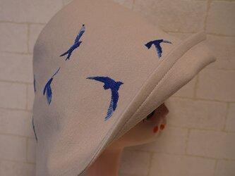 コットン素材スパンフライスニット生地で作ったチューリップハット(青い鳥)の画像
