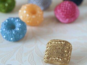 舶来ヴィンテージボタンのブローチ/帯留め◎パヴェ:ゴールド【送料無料】の画像