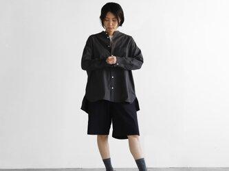 タイプライタークロスバンドカラーオーバーシャツ(スミクロ)【ユニセックス】015の画像