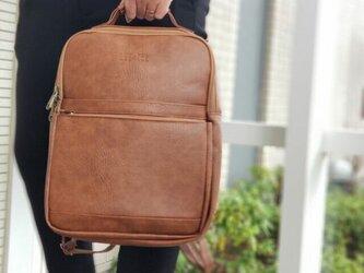 リュック メンズ レザー バッグ 鞄  防水 プレゼント レザーの画像