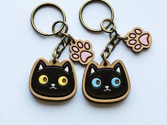 『田田製作所』手作り キーホルダー  黒猫の画像