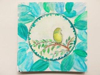 絵画 インテリア キャンバス画 水彩画 小鳥のいる風景の画像