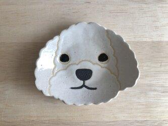トイプードル小皿(白)の画像