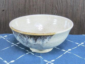 陶器 ご飯茶碗(大) 白+茶【210501】の画像