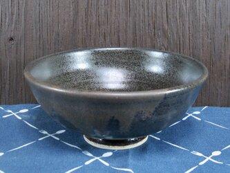 陶器 ご飯茶碗(大) 黒+こげ茶【210502】の画像