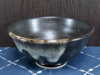 陶器 ご飯茶碗(大) 黒+白【210503】の画像