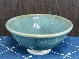 陶器 ご飯茶碗(大) 白濁みどり【210504】の画像