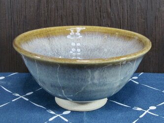 陶器 ご飯茶碗(やや大)薄茶まだら・朝顔型【210507】の画像