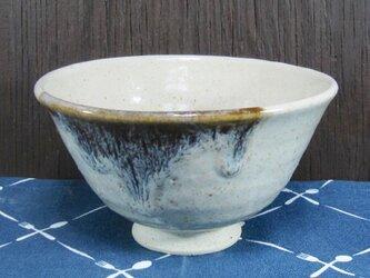 陶器 ご飯茶碗(中)白+茶【210508】の画像