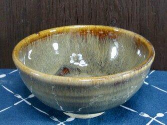 陶器 ご飯茶碗(中)こげ茶まだら・やや深型【210510】の画像