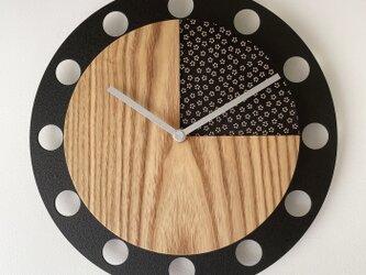 甲州印伝クロック/feeLife clock model 02:小桜 黒/白 No.02011の画像