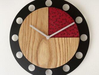 甲州印伝クロック/feeLife clock model 02:とんぼ赤/黒 No.02012の画像