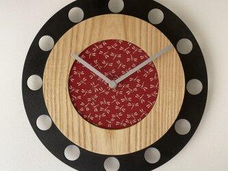 甲州印伝クロック/feeLife clock model 01:とんぼ赤/白 No.01054の画像