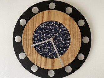 甲州印伝クロック/feeLife clock model 01:とんぼ青/白 No.01052の画像