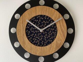 甲州印伝クロック/feeLife clock model 01:とんぼ青/白 No.01071の画像
