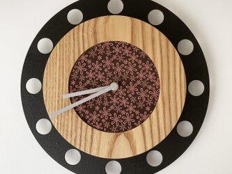 甲州印伝クロック/feeLife clock model 01:雪割草茶/桃 No.01067の画像