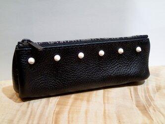 ダイアゴナル ペンポーチ S w/  スタッズ (BK×BK) ポーチ ペンケース パンク ロック 手縫い おしゃれの画像
