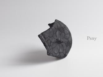 PSNY 送料無料 ドイリー・ブラック・レース 4 不織布フィルター シルク 肌に優しい 立体 ドレス マスク LD04の画像