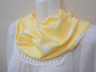 ダブルガーゼのスヌード(ねじり一重&クリームドット)スカーフ・付け衿感覚で☆シングルの画像