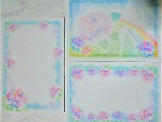3種の紫陽花(あじさい)ポストカードセット パステルアート・絵葉書の画像