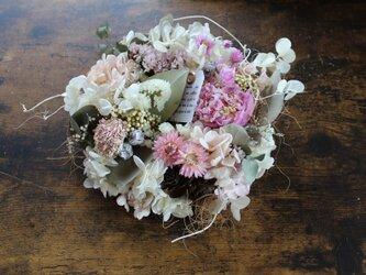 「I want to eat candy」 wreath    芍薬とあじさいのリース   ドライフラワーリース の画像