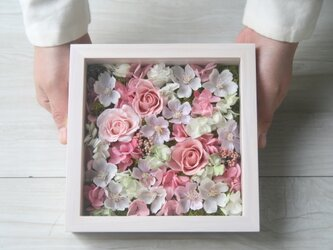 [誕生日プレゼント・結婚祝い・ご両親贈呈品] 送料無料 アクリル板付きフレーム アレンジ  sweet pinkの画像