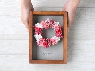 壁掛けフレーム wreath -bright pink-の画像