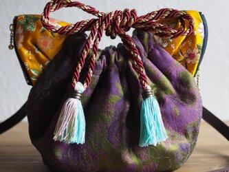 ジャガード織猫型巾着ショルダーバッグ(一点作品/送料無料)の画像