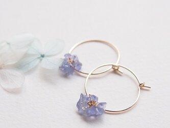 小さな紫陽花(フープピアス/フープイヤリング)の画像