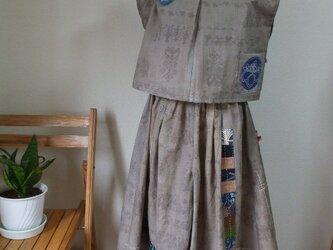 柿渋鉄媒染浴衣でブラウスとキュロットスカート(ガウチョパンツ) 木綿の画像