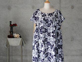 着物リメイク お家ファッション/浴衣ギャザーチュニック/ゆったり目のL  蘭の花 の画像