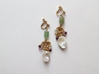 Freshwater pearl & Stone earring(pierce)の画像