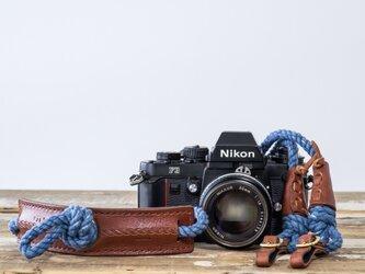 一眼レフ仕様Eight knot カメラストラップ(インディゴ)の画像