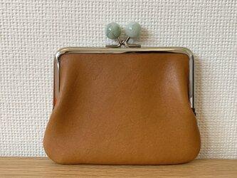 【ネコポス送料無料】ころん♪と大玉がまぐちの、ぺたんこスリムなミニ財布(きつね色レザー)の画像