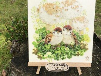 「のはらの子すずめ」 18x18cm パネルの画像