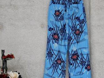 着物リメイク お家リラックスパンツ/ L /水色 カジュアルパンツの画像