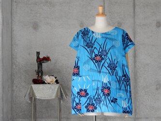 着物リメイク 浴衣ブラウス/L/フレンチ袖  水色 注染の画像