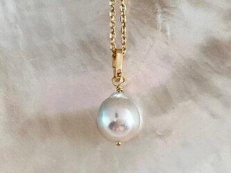 k18ゴールド◇アコヤ真珠◇天然色 Lux White ◇K18ペンダントトップの画像