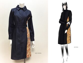 【オーダーメイド】岡山産デニム(紺)ゴブラン織り切り替えシャツ型コートワンピース(KOJI TOYODA)の画像