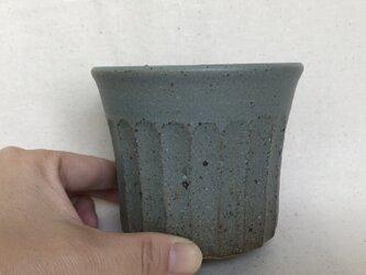 水色のフリーカップ(大しのぎ柄)の画像