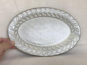 粉ひきのオーバル皿(リーフ柄)の画像