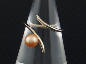 自由な曲線に淡水真珠の指輪 17Rの画像