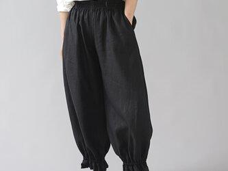 【wafu】裾ギュンリネンパンツ 裾がすぼまってるパンツ 男女兼用 やや薄地/ブラック b006f-bck1の画像