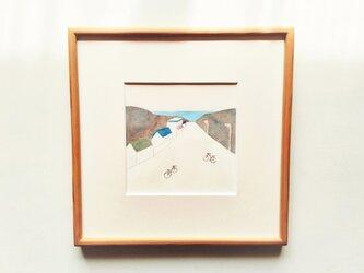 「夕凪の海へ」イラスト原画 ※木製額縁入りの画像
