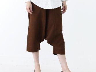 『 Tomo 』 コットン100% 手織り クロップド丈 コクタン染め サルエルパンツの画像