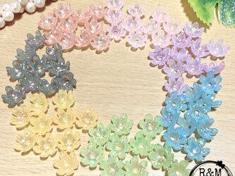 【038】フラワービーズ 花ビーズ パステルカラー オーロラ 各10個 70個の画像