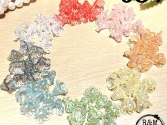 【039】フラワービーズ 花ビーズ 百合 オーロラ ラッパ 各10個 80個の画像