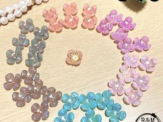 【040】フラワービーズ 4花弁 花ビーズ オーロラ 6色 36個の画像